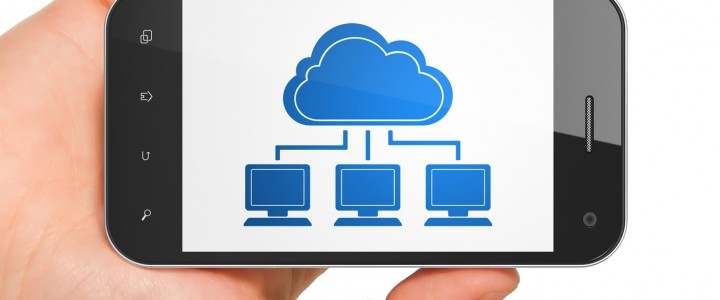 Cloud computing concept: Cloud Network on smartphone