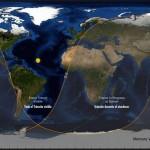 Mapa de visibilidad del tránsito de Mercurio del próximo 9 de mayo de 2016